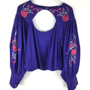 Free People Floral Bubble Sleeve Keyhole Top